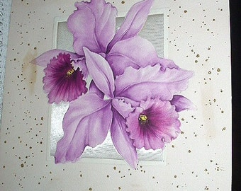 Greeting Card Mothers Day Beautiful Purple Orchids Vintage Used Card Great For Framing or Scrapbooking