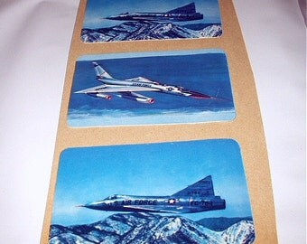 US Air Force Military Jets Three Vintage Lithograph Cards FC 100 and B50 Bomber Airplanes Great To Frame