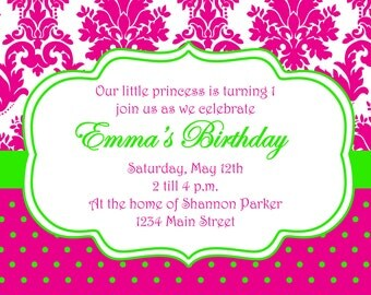 Hot Pink and Green Birthday Printable Invitation