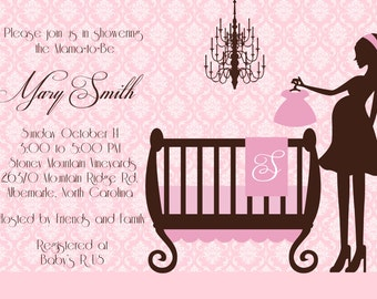 Chic Crib Chandelier Baby Shower Printable Invitation