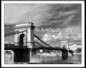 Budapest, Hungary -  Danube Bridge, Color or Black & White, Budapest Photography, Wall Art Decore