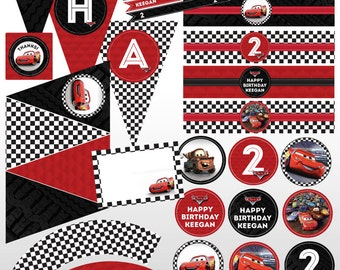 Disney Pixar Cars Custom Printable Birthday Party Package Kit Lightening McQueen Racing Checkered Flag, Red, Black
