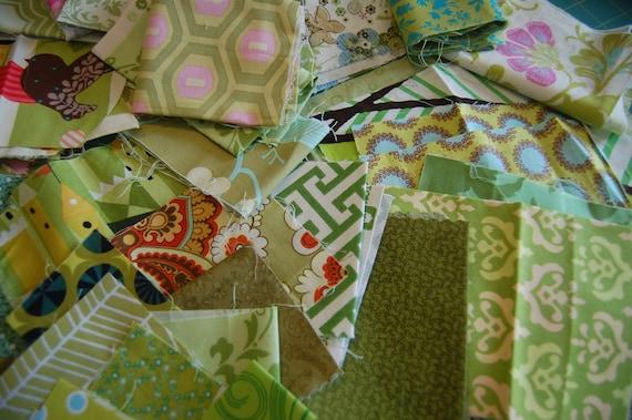 Scrap Pack-green fabric scraps, Amy Butler, Joel Dewberry, destash