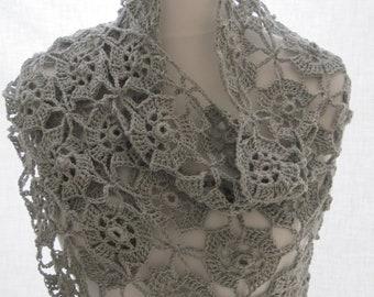 Ladies Hand Crocheted Silver Grey Flower Shawl Wrap Scarf