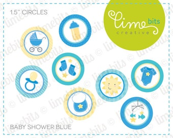 """1.5"""" Baby Shower Circles. Blue."""