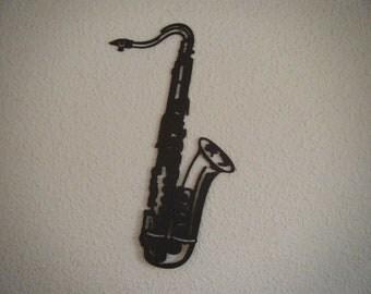 Saxophone silhouette cut wood
