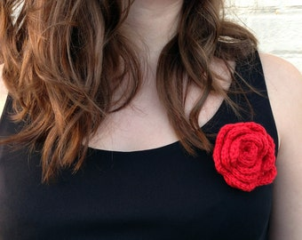 Crochet red rose brooch - other colours available