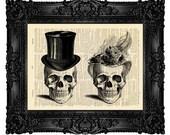 Couple Skulls, Skull Wall Hanging, Sugar Skull Poster, Human Skull Decor, Skull, Mystery Poster, Couples Gift Print, Anniversary Gift no.129