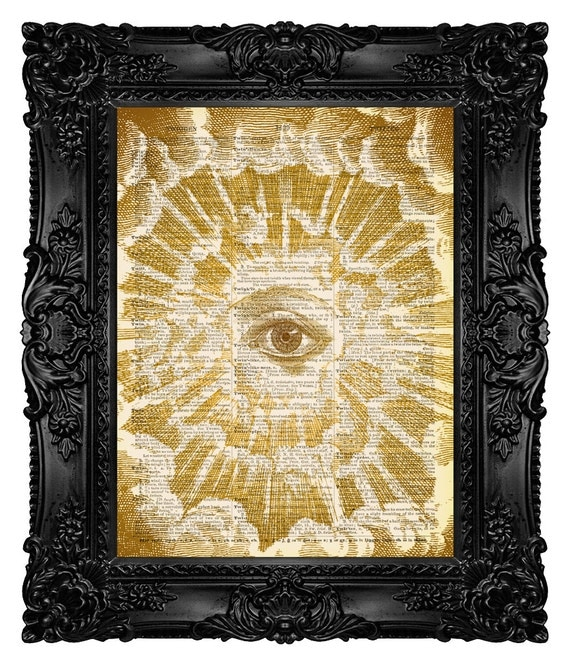 All Seeing Eye, Illuminati, Christian Tattoo, Dictionary Art Print Vintage Upcycled Antique Book Page no.121