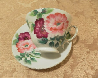 Pink Floral Cup and Saucer Set - Merit Occupied Japan China