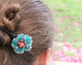 Ocean - Cotton-yarn knitted Hair pin, embroidered with glass beads and crystals.