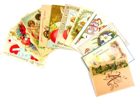 11 Early 1900's Vintage Holiday Postcards