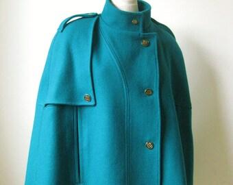 Handmade Women Cape Coat. Emerald green Wool Coat. - God Save the Queen -