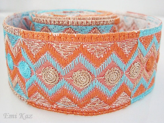 Embroidery Lace Trim, Border, Indian Style, Orange, Blue, Gold Thread - 1 meter