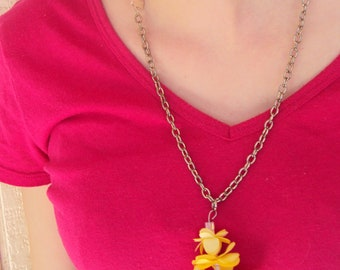 Yellow Fabric Flower Necklace