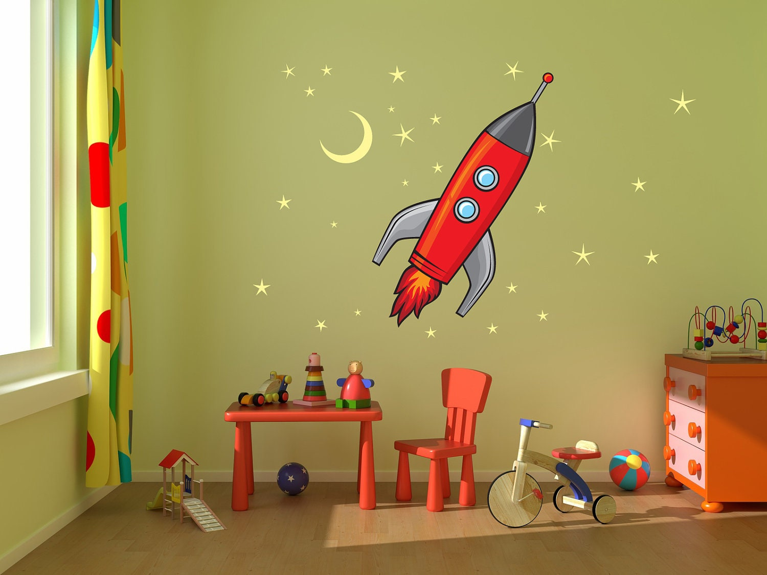 Rocket ship stars and moon kids room nursery vinyl by - Stickers deco chambre garcon ...