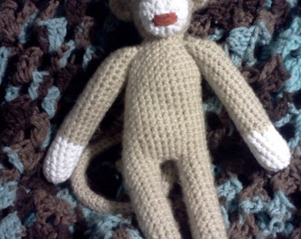Crocheted sock monkey