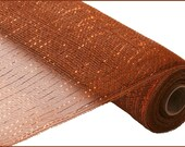 "Brown with Copper foil Deco Poly Mesh 21"" x 10 yards"