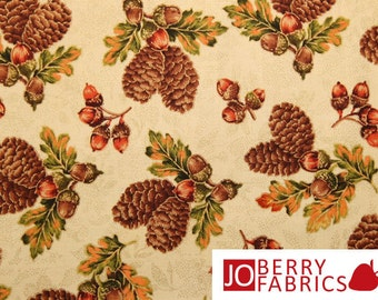 Harvest Splendor Pine Cones and Acorns by VIP Fabrics