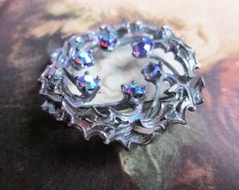 Vintage Iridescent Rhinestone Brooch