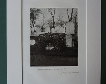 Original 1940s Print Of William Makepeace Thackery's Grave - Antique - Picture - Plate - Sepia - Mounted - Matted