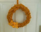 fall wreath,13 inch felt leaf wreath with felt flowers and button centers
