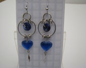 Blue Color Dangle Handmade Earrings Glass with Platinum plated Earwires Alpaca Drops Ready to Ship 1082 USE COUPON CODE for 20% off