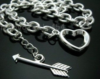 Heart and Arrow Toggle Necklace