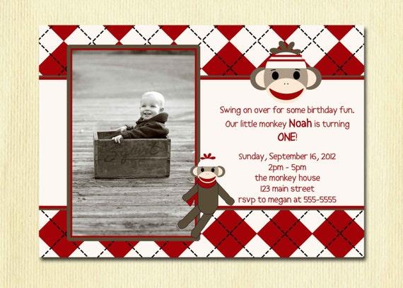 Items Similar To Sock Monkey Birthday Invitation First