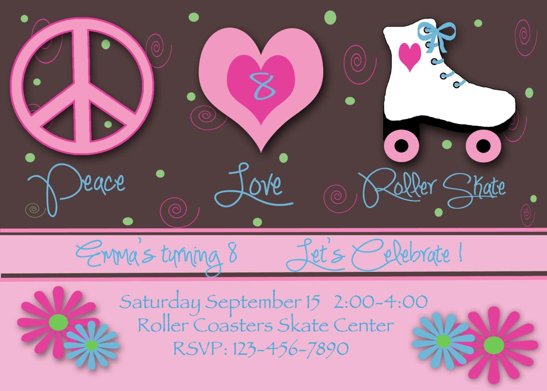 Free Roller Skating Birthday Party Invitations ~ Roller disco party invitation template morning quotation