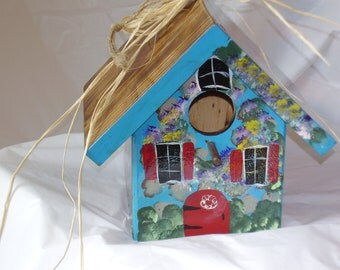 Functional Handcrafted-Handpainted Wood Birdhouse