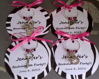Custom Bachelorette Party Wine Charm Favors - Girls Night Out, Birthday Party, or Special Event