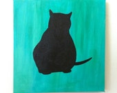 Fat green cat original painting / acrylic / free international shipping / 6 x 6 inch