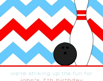 Bowling Party Invitation with Envelopes