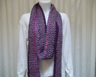 Super long crochet scarf  multi colored purples.  READY TO SHIP