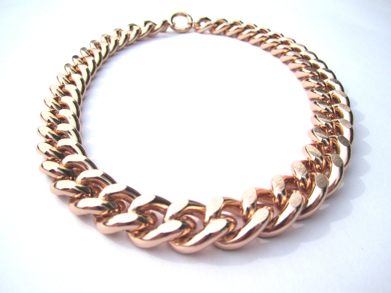chunky rose gold chain necklace by peppermintlollipops on etsy