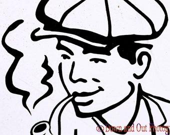 8 x 12 Black and White Graffiti Smoking Man