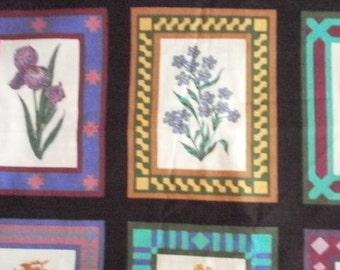 Framed floral  print fabric - 1 1/2 Yards