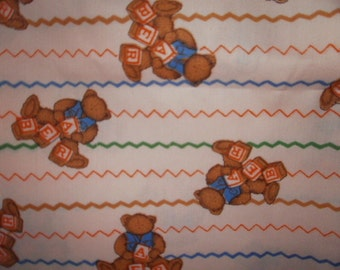Bears with Blocks Print Fabric