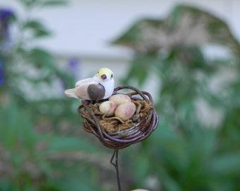 Fairy Garden Miniature Bird Nest with eggs and Bird for fairy accessories terrarium dollhouse