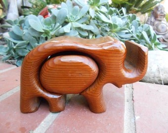 Vintage Redwood  Elephhant Puzzle/ Jewelry Box