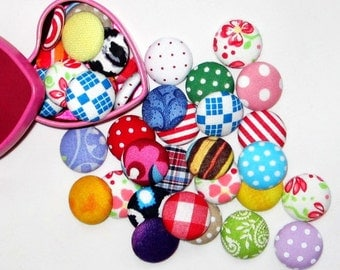 Fabric Covered Buttons with Flat Back in Assorted Colors (17mm, 50 in a set)