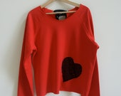 Large Red Sweatshirt with Black Lace Heart and Bow Slouchy and Comfy
