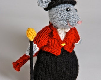 Handmade knitted plush mouse Ringmaster made to order customizable
