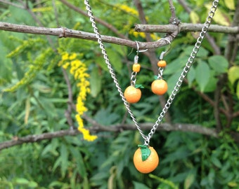 Juicy Bright Orange Necklace and Earring Set
