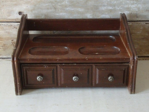 Vintage Mans Small Valet Jewelry Box Lovey Piece Dark Brown