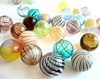 BIG SALE 9 pcs Assorted Colored Handblown Hollow Glass Beads, Blown Glass Beads Colorful Beads - Round Assorted Colors, 0.79 inches or 20mm