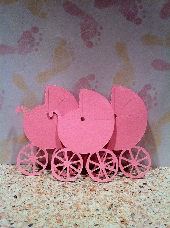 Baby Carriage Embellishments - Party Favors - Party Supplies - Gift Tags - Scrapbook and Card Supplies  (Set of 10)