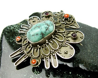 Tibetan Phoenix Brooch/ Pin, 70s Sterling Turquoise & Coral Nepal, Hallmarked, All Gems Genuine.
