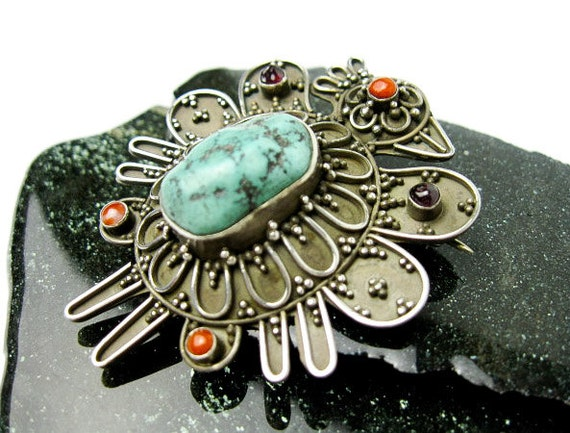 Tibetan Phoenix Brooch/ Pin, 70s Sterling Turquoise & Coral Nepal, Hallmarked, All Gems Genuine.